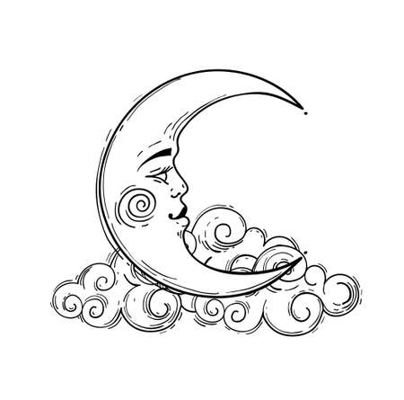 Magic crescent moon with face, line drawing isolated on white background. Astrological and esoteric design element. Stock illustration, engraving stylization  イラスト・ベクター素材