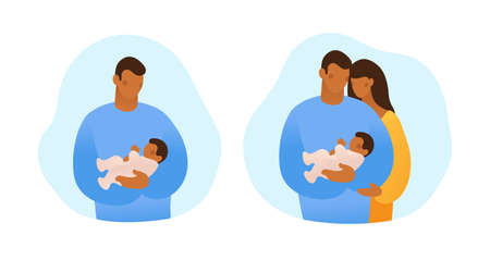 A black man holds a baby in his arms and takes care of him. Concept about family, parenting, single father. Collection of simple flat stock illustrations isolated on white background