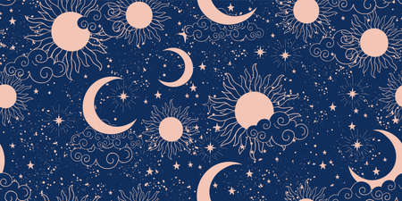 Seamless blue space pattern with sun, crescent and stars on a blue background. Mystical ornament of the night sky for wallpaper, fabric, astrology, fortune telling. Vector illustration Illustration