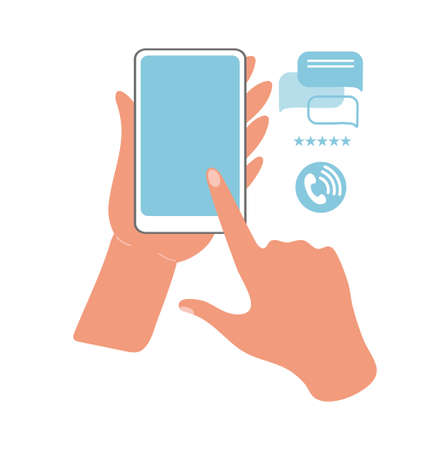 Hands hold the phone and point to the screen with a finger. Flat vector illustration. Online communication on the Internet using gadgets