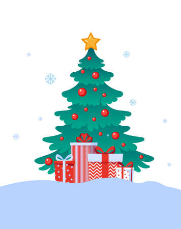 Decorated with balls and garlands Christmas tree. Pile of christmas gift boxes. Vector illustration in flat design isolated on white background.