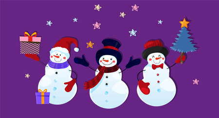 Three cute funny snowman characters in hat mittens with gifts and Christmas tree. Children s Christmas paper application on a purple background with stars. Cartoon design. Flat vector illustration. Illustration