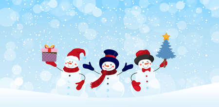 Group of snowman characters with gifts and Christmas tree on a winter snowy background. Christmas banner with holiday design elements. Winter card. Flat vector stock with copy space Illustration