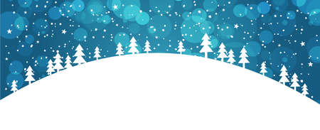 Winter forest against a blue winter sky with snowfall. Banner with a simple applique of Christmas trees and bokeh. Hill with trees, stars in the sky, snowflakes. Postcard New Year and Christmas background with space for text. Flat stock vector.