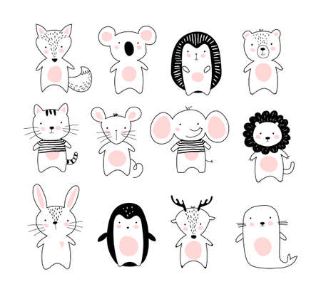 Kids doodle poster with cute animals. A collection of animals in a modern Scandinavian Nordic style. Black and white line drawing of wild animals and pets. Fox, koala, hedgehog, bear, cat, mouse, elephant, lion, rabbit, penguin, deer, fur seal. Flat vector isolated on white background.