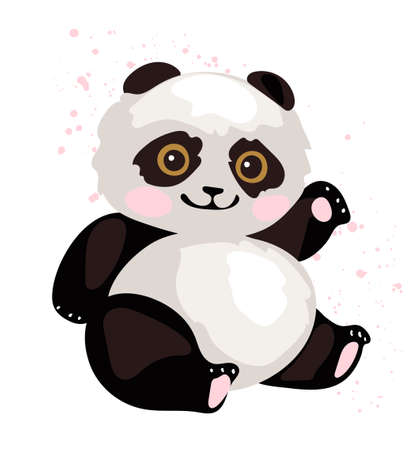 A cute panda is sitting and waving its paw. Simple flat vector illustration. Animal in the zoo, element for design, isolated on white background Illustration