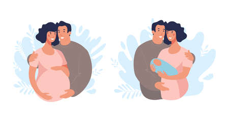 Set of illustrations about pregnancy and family. A couple expecting a baby, a man and a woman with a newborn. Flat vector illustration isolated on white background