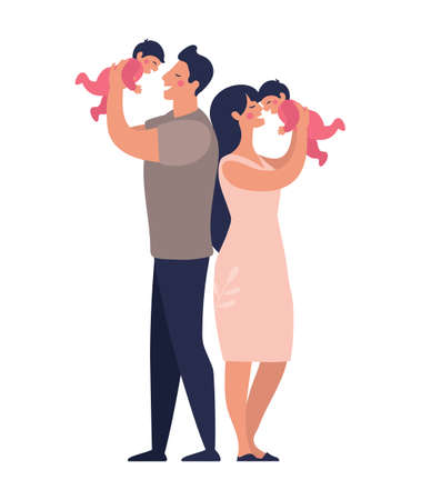 Young parents play with twins. Happy dad and mom hold children in their arms. Flat vector illustration in cartoon style. Illustration
