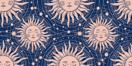 Seamless magic ornament with a sun with a face on a blue background. Pattern with elements of astrology, boho design, space and stars. Vector illustration