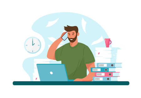 Man with headphone and computer, call center, customer service and support. Flat vector illustration concept of distance work, distance education Illustration
