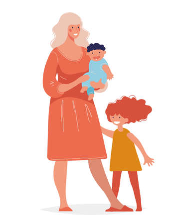 Young beautiful woman with two children. Concept of motherhood, parenthood, single mother, happy childhood. Mom stands with her daughter and son in her arms.