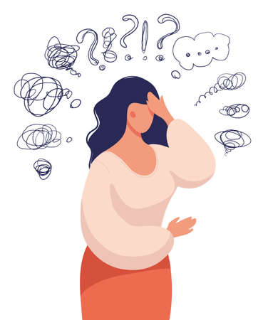 A woman thinks over a problem, suffers from obsessive thoughts, headache, unresolved issues, psychological trauma, depression.