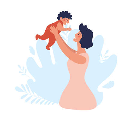 Mom throws the child up. Happy family on a blue background. Mother with a baby in her arms.