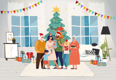 Family together at home for christmas. Happy family celebrate New Year with children and grandparents. Decorated Christmas tree in the room. Festive interior and characters. Vettoriali