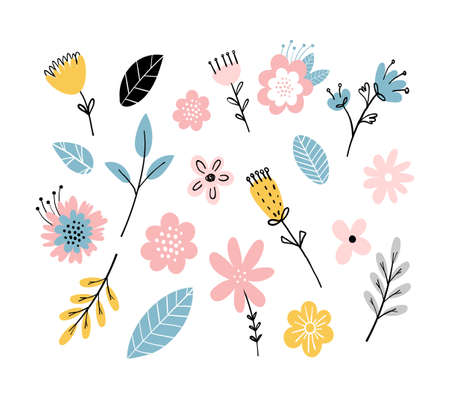 Scandinavian pattern of flowers and leaves. Simple vector flat illustration. Abstract flowers in childish style, cute floral elements for wedding design, postcards, stickers