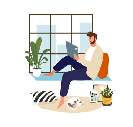 A man works at home on a laptop sitting at the window. Home office and remote work. Freelance guy, online training. Flat vector illustration. Male character in a modern cozy interior Illusztráció