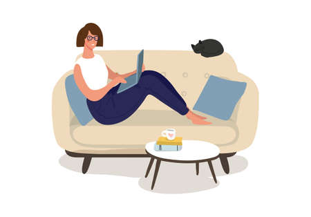 A woman is sitting on the couch with a laptop. Freelance concept, home office, remote work, online meeting and education. The girl works via the Internet in a cozy interior. Flat vector illustration