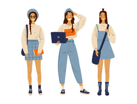 Group of modern young fashionable girls. Hipster students. Back to school. Set of standing female characters in flat style. Cartoon vector illustration. Illusztráció