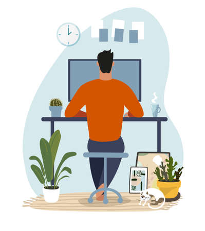 Modern concept illustration about home office, telecommuting, online education. A man sits and works at a computer in a cozy home interior. Flat vector illustration