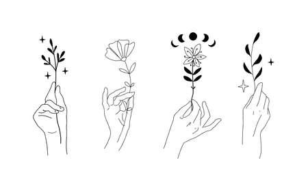 Hands set with flowers and plants. Graceful female hands, mystical symbols for  esoteric boho design, minimalistic linear emblem for wedding card. Doodle vector illustration