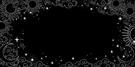 A mystical heavenly black banner with copy space, moon, sun, and stars. Space background with place for text. Blank for astrology, fortune-telling, boho parties. Vector illustration Illusztráció