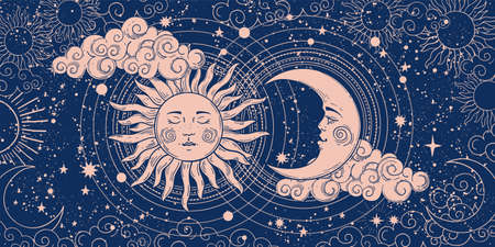 Magic banner for astrology, divination, magic. The device of the universe, crescent moon and sun with moon on a blue background. Esoteric vector illustration, pattern Illusztráció