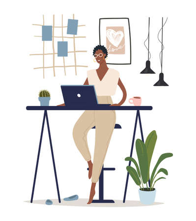 A modern black woman sits at a table and works at a computer. Concept illustration about home office, remote work, freelancing. Flat vector illustration Illusztráció