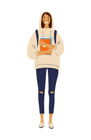 Modern girl student standing with backpack and books. Flat vector female character in hoodie and fashion jeans. Back to school. Flat stock illustration