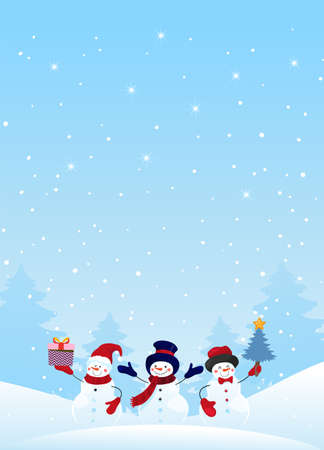 Group of snowman characters with gifts and Christmas tree on a winter snowy background. Christmas banner with holiday design elements. Winter card. Flat vector stock with copy space Illusztráció