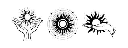 Set of mystical sun. The hand holds the sun. Set of vector drawings for boho dihain, astrology, horoscope. Black doodle illustration isolated on white background Stock fotó - 155270961