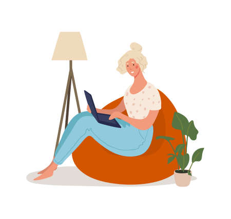 A cute girl sits in an armchair and works on a laptop. Remote work, online education, home office, online meeting with friends, online shopping. Flat cartoon vector illustration isolated on white background