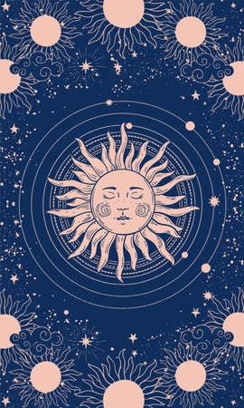 Vector illustration in vintage mystical style, boho design, tattoo, tarot. The device of the universe with a golden sun, moon, planets and orbits against the background of black space.