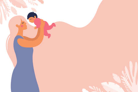 A beautiful young mother throws a toddler in her arms. Childhood and motherhood copy space poster. Flat vector concept illustration with a pink background Illusztráció