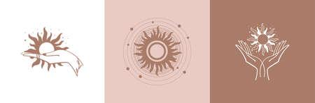 Set of mystical sun. The hand holds the sun. Set of vector drawings for tattoo, boho design, astrology, horoscope. Black doodle illustration Stock fotó - 155271025