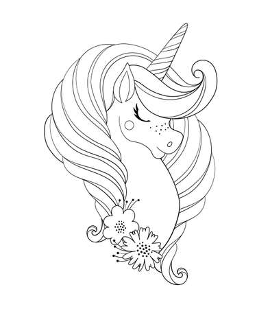 Unicorn head with flowers. Beautiful portrait of a magic horse. Drawing coloring book for a girl, linear sketch for design. Vector doodle illustration isolated on white background
