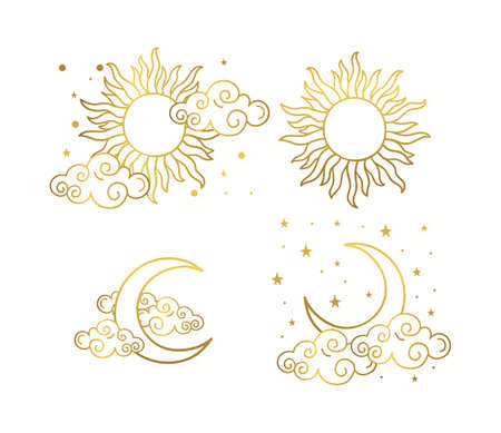 Mystical golden boho tattoos with sun, crescent, stars and clouds. Linear design, hand-drawing. Set of elements for astrology, mysticism and fortune telling. Vector illustration on a white background. Illusztráció