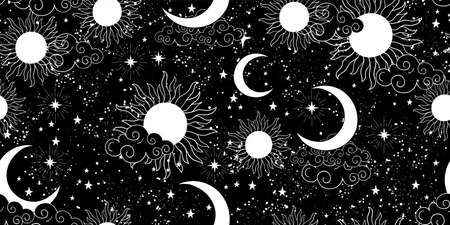 Seamless black and white space pattern with sun, crescent and stars on a blue background. Mystical ornament of the night sky for wallpaper, fabric, astrology, fortune telling. Vector illustration Illusztráció