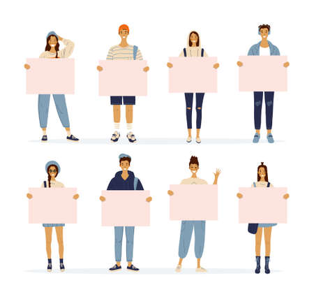 Cartoon characters standing young women and men holding blank posters. Girls and guys with banners with place for text. Youth, school sale. Vector illustration