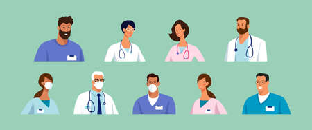 Set of male and female characters of doctors. Surgeons, doctors, nurses. Conceptual illustration, hospital medical team, poster. Stock Illustratie