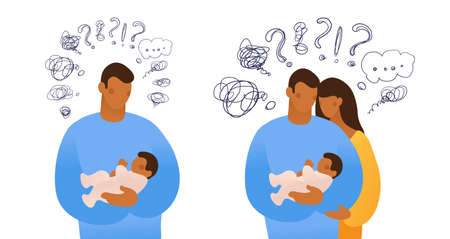 Set of isolated vector illustrations about issues of childbearing, upbringing and caring for a newborn, depression. A man hugs a child and thinks, cartoon design Illusztráció