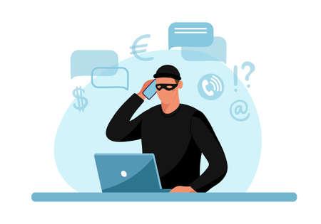Internet phone crime. Conceptual illustration of online internet fraud, cybercrime, data hacking. Cartoon design isolated on white background. Flat vector illustration