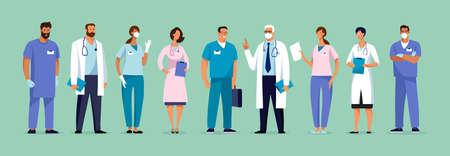 Set of male and female characters of doctors. Surgeons, doctors, nurses. Conceptual illustration, hospital medical team, poster. Vector template for design Illusztráció