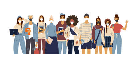 A crowd of standing people in medical masks. Male and female characters in modern clothes, flat design, cartoon style, students and teachers. Vector illustration