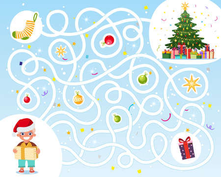 Help the boy find his way to the Christmas gifts. Labyrinth for children. An educational game for a kindergarten. Labyrinth in flat cartoon design, vector Illusztráció