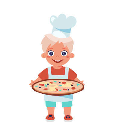 A kid in an apron and a chef s hat holds a platter of pizza or paella. Cooking lessons, profession of a cook, hobbies, recipes. Cartoon vector illustration isolated on white background