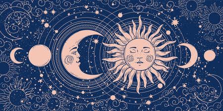 Magic banner for astrology, tarot, boho design. Universe art, crescent moon and sun on a blue background. Esoteric vector illustration, pattern Illusztráció