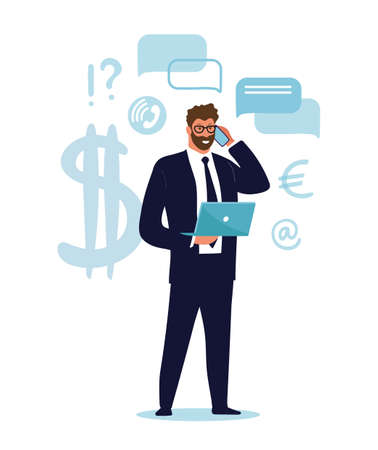 A businessman is standing with a laptop and talking on the phone. Concept illustration about business, career, investment. Cartoon vector illustration isolated on white background