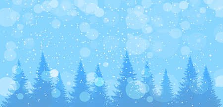 Snowfall in the winter forest. Modern seasonal background, blue banner with copy space. Landscape with pine and fir trees, snowy sky. Vector illustration Illusztráció