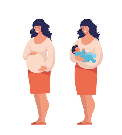 Modern mom. Pregnant woman, cute standing character for design about motherhood. Flat cartoon vector illustration isolated on white