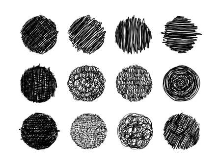 Set of grunge textures in pencil, pen. thin line scribbles, circles with different shading, engraving. A set of round shapes with free lines for design. Vector illustration